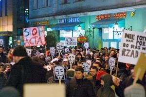 Protestas contra la firma de ACTA